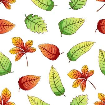 Modello senza cuciture delle foglie di autunno con stile abbozzato colorato