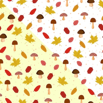 Autumn leaves seamless pattern con funghi