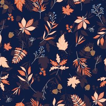 Modello senza cuciture di vettore delle foglie di autunno con fondo strutturato blu