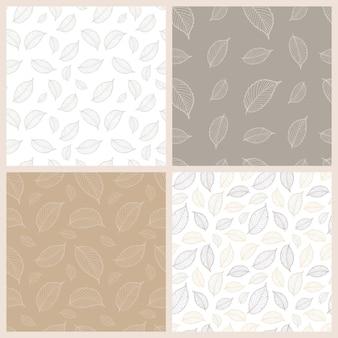Foglie di autunno insieme di modelli senza soluzione di continuità. disegno di contorno di foglie d'autunno. tavolozza di pestello. illustrazione vettoriale. adatto per tessuto, carta da imballaggio, carta da parati, ecc.