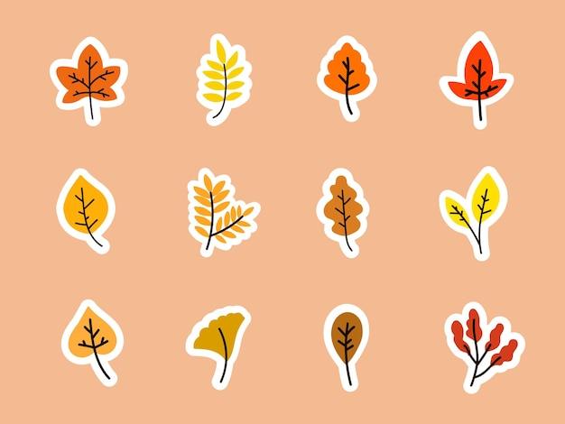 Collezione di adesivi con foglie d'autunno
