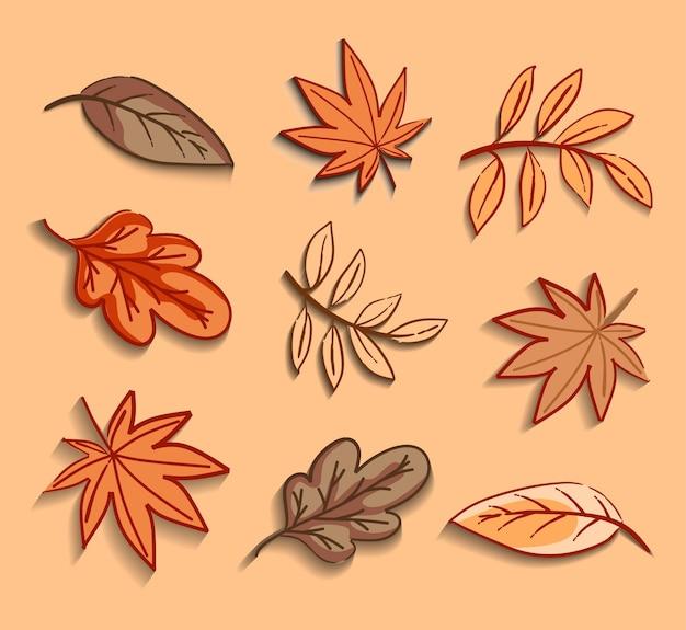 Componenti vettoriali di foglie autunnali