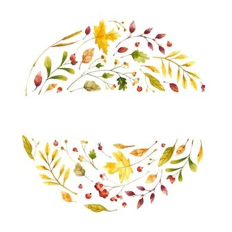 Foglie autunnali cerchio acquerello con posto per il testo fiori di campo autunnali e mirtillo rosso post botanico