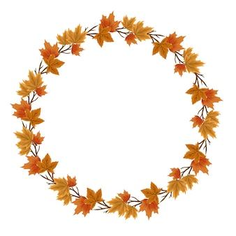 Cornice circolare con ghirlanda di foglie autunnali con bordo di foglie autunnali per biglietto di auguri