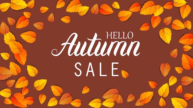 Banner di vendita lettering autunno. modello di promozione dello shopping di settembre o ottobre. web poster stagionale ciao autunno.