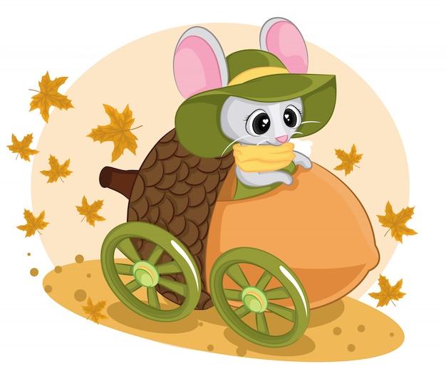 Topo autunnale su uno scooter. illustrazione dei bambini di un topo con sciarpa su una macchina di noci.