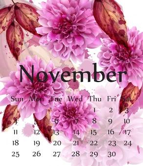 Calendario di novembre di autunno con i fiori rosa della margherita