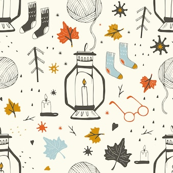 Illustrazione di vettore disegnato a mano del modello senza cuciture degli oggetti di autunno