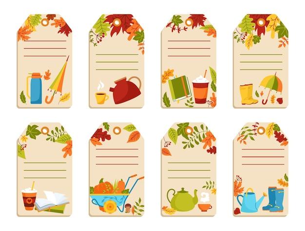 Insieme del fumetto disegnato a mano dei cartellini dei prezzi di carta d'autunno