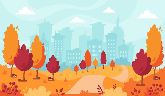 Parco autunnale sullo sfondo della città paesaggio autunnale