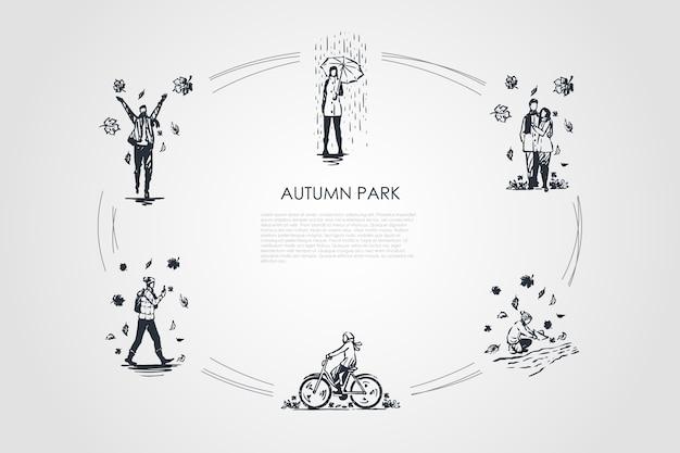 Illustrazione del parco d'autunno