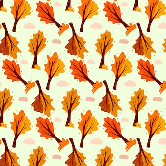 Modello autunnale. albero e nuvola astratti di autunno. pianta ornamentale. stile cartone animato. illustrazione vettoriale per design e decorazione.