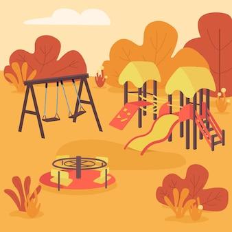 Illustrazione di colore piatto di area giochi autunnale