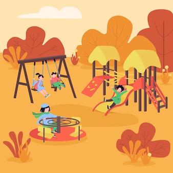 Colore piatto parco giochi autunnale. area giochi autunnale. i bambini si divertono su altalena e scivolo. divertimento all'aperto. area ricreativa per bambini personaggi dei cartoni animati 2d con foresta sullo sfondo