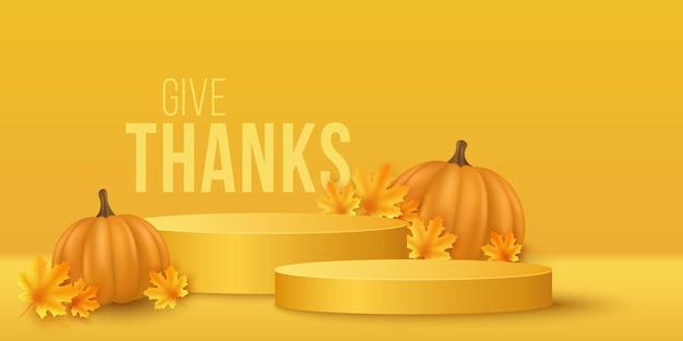 Podio autunnale con zucca 3d realistica e foglie d'acero per mostrare i prodotti del tuo marchio per il ringraziamento. scena vuota minima. vetrina e scaffale. illustrazione vettoriale. eps 10