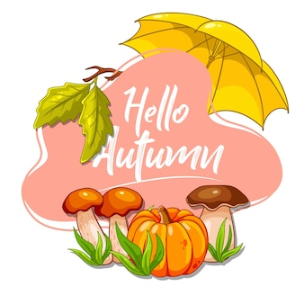Cartolina d'autunno. banner con oggetti autunnali. zucca, funghi, ombrello. stile cartone animato. illustrazione vettoriale per design e decorazione.