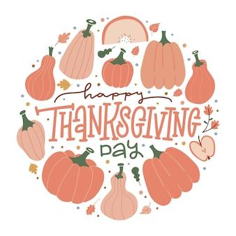 Cartolina d'autunno con citazione scritta felice giorno del ringraziamento zucche disegnate a mano foglie tondo sticke...