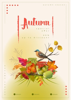 Modello di poster autunnale con un uccello e foglie autunnali