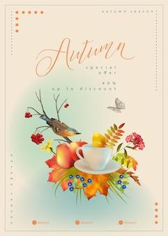 Modello di poster autunnale con tazza da tè per uccelli e foglie autunnali