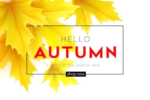 Poster autunnale con scritte e foglie d'acero autunnali gialle. illustrazione vettoriale eps10