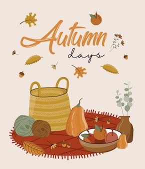 Manifesto di autunno con picnic.