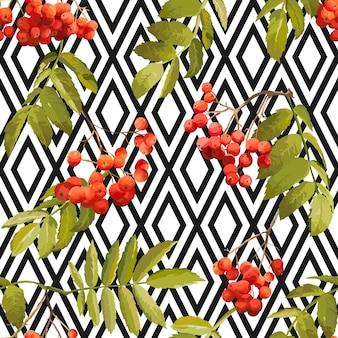 Autunno rowan berry sfondo geometrico vintage seamless pattern