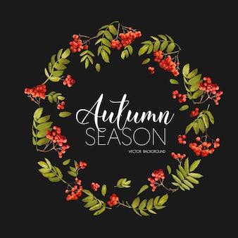 Sfondo autunno bacche di sorbo