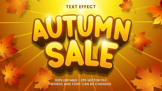 Vendita autunnale effetto testo 3d stile di testo modificabile e adatto per le vendite promozionali