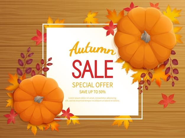 Fondo di vendita di autunno. volantino banner con zucca, foglie su un tavolo di legno offerta speciale stagionale