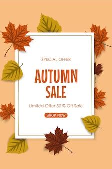 Sfondo di vendita autunnale con foglie colorate