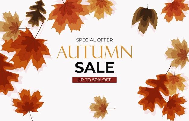 Fondo di vendita di autunno con le foglie che cadono. può essere utilizzato come post della storia nei social network. illustrazione vettoriale eps10