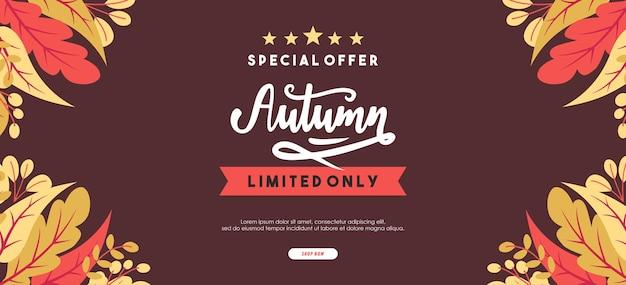 Sfondo di vendita autunnale con foglie per vendita commerciale o poster promozionale e volantino cornice o banner web