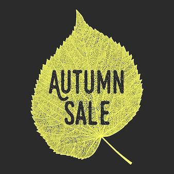 Fondo di vendita di autunno con il foglio scheletrato di vettore.