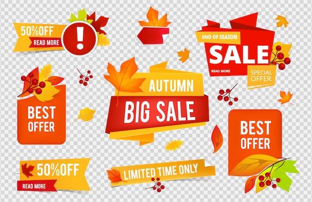Collezione di badge autunno vendita. le etichette delle insegne di vendite di caduta con l'arancia rossa lascia su fondo trasparente