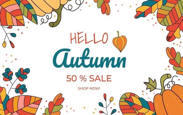 Fondo dell'elemento di progettazione dell'insegna di vendita di autunno