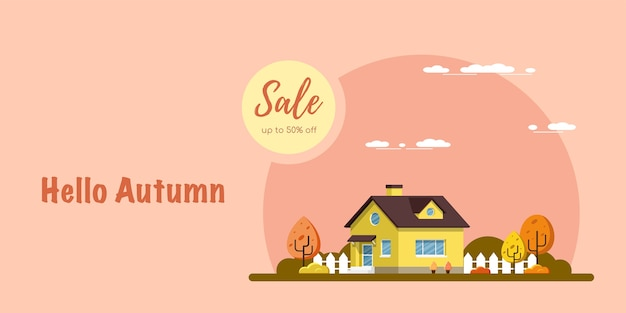 Banner di vendita autunnale, foto di una casa con alberi, paesaggio rurale, illustrazione stile piatto