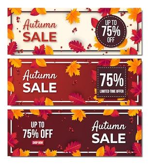 Fondo stabilito dell'insegna di vendita di autunno con la foglia. offerta speciale fino al 75%.premium vector