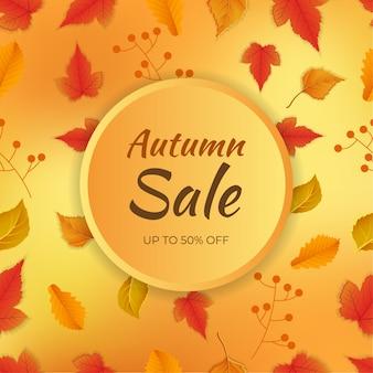 Banner di vendita autunno e varie foglie decorate su sfondo astratto