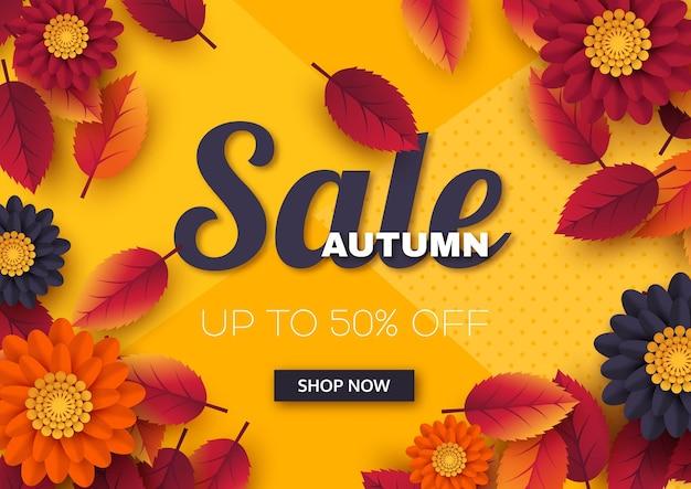 Bandiera di vendita di autunno con foglie e fiori 3d. modello per sconti stagionali