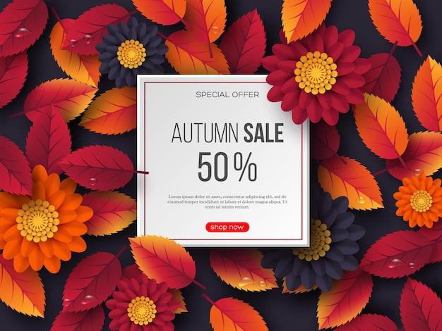Bandiera di vendita di autunno con foglie 3d, fiori e gocce d'acqua. modello per sconti stagionali