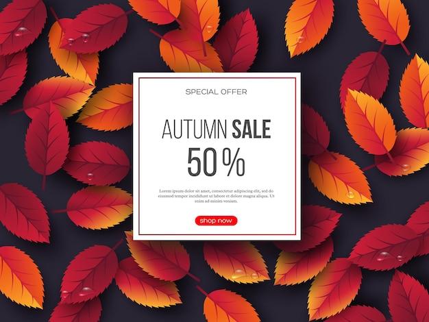 Banner di vendita autunnale con foglie 3d e gocce d'acqua. sfondo viola - modello per sconti stagionali, illustrazione vettoriale.