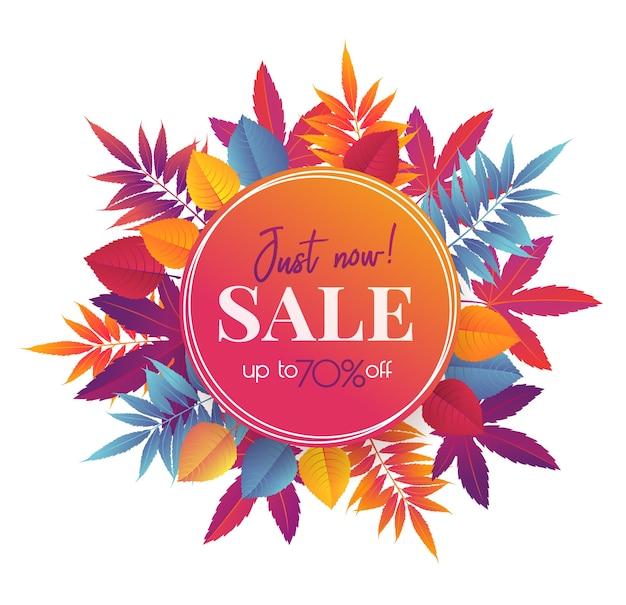 Banner di vendita autunnale con foglie autunnali luminose, design di promozione della stagione autunnale.