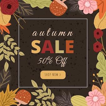 Striscione autunno vendita con cornice floreale