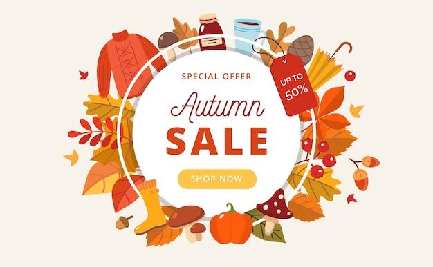 Banner di vendita autunnale con foglie ed elementi autunnali