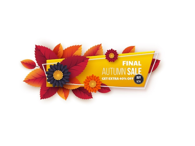 Banner di vendita autunnale con foglie e fiori. design autunnale tagliato in carta per la promozione dello shopping autunnale.
