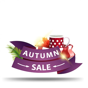 Saldi autunnali, banner web sconto sotto forma di nastri Vettore Premium