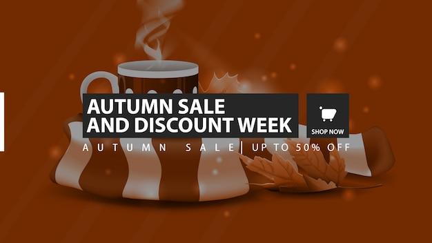 Settimana di vendita e sconto autunno, banner sconto orizzontale arancione