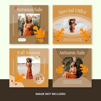 Modello di raccolta post di instagram di stagione autunnale di saldi autunnali