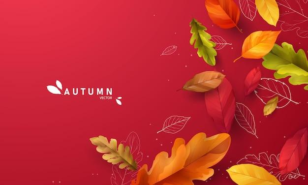 Vendita autunnale foglie che cadono sfondo natura