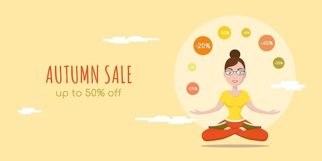 Insegna di concetto di stile piano di vendita di autunno. femmina carina in posa yoga carattere joggling con segni di sconto.